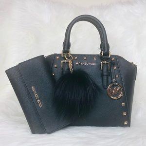 3PCS Michael Kors Ciara MD Stud Satchel Wallet Set